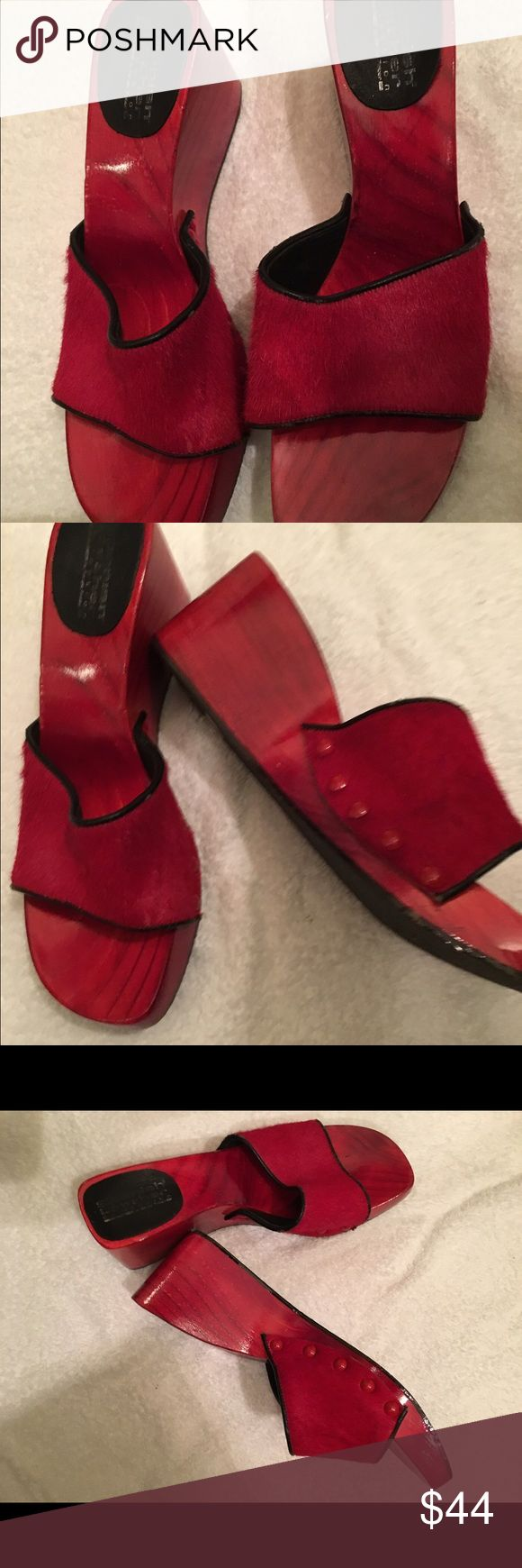 Spanish brick red wedge heel and calf leather Spanish leather brick red wedges and calf leather shoes the Designer is Spanish Leather size 7.50 spanish leather Shoes Wedges