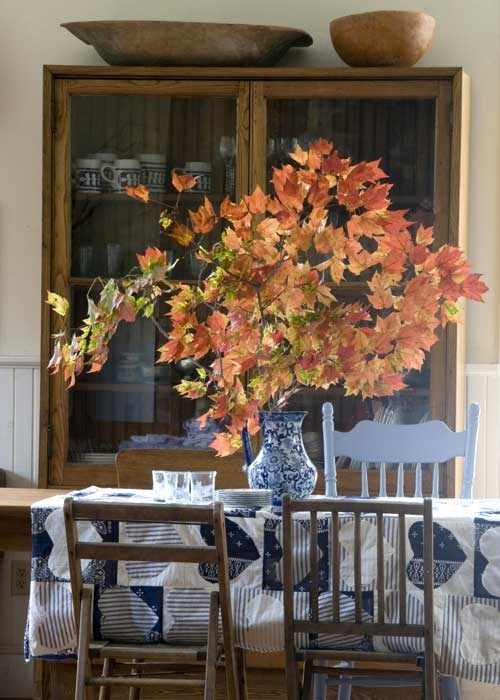 Bring The Colors Of Fall Indoors By Turning A Tree Branch Into Centerpiece Tuscan StyleIn ColorCountry Dining RoomsCenterpiecesCountry