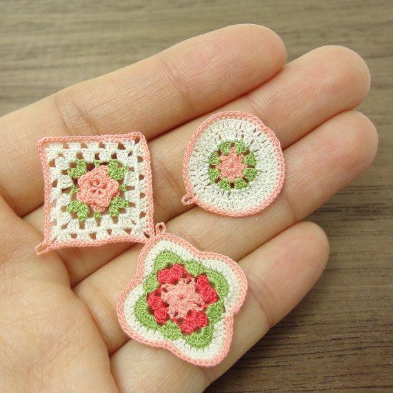 3 miniature crochet potholder or coaster salmon, orange color for dollhouse in scale 1:12