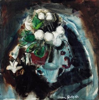 White flowers and a cup By Anne Redpath