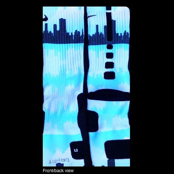 Chicago Sky Line Custom Nike Elites by TheSickestSocks on Etsy, $35.99