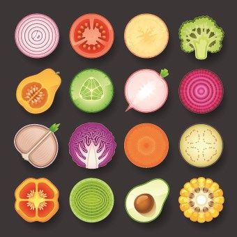 Vector food icons. These look realistic at first glance. The vectors are all colored to look like real fruits and veggies.