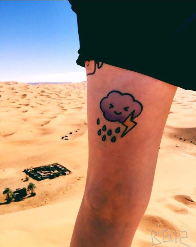 Rain cloud tattoo in the desert