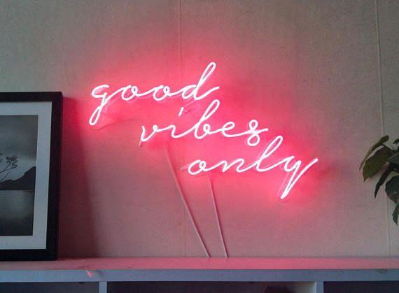 Good Vibes Only Neon Art Handmade Sign Visual Artwork Home Wall