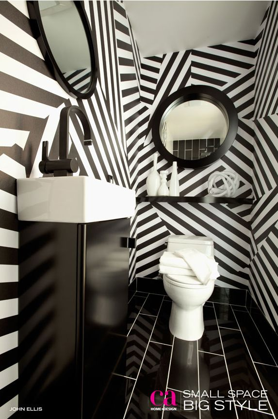 Best Bathroom Wallpaper Images On Pinterest Bathroom Ideas - Black and white wallpaper for bathrooms for bathroom decor ideas