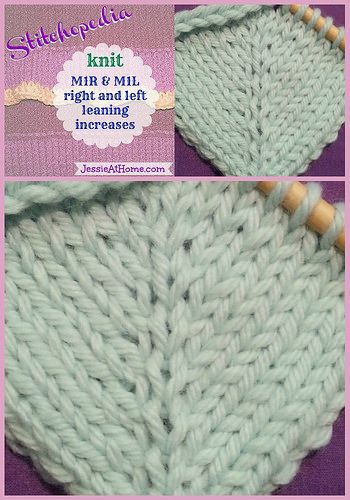 Stitchopedia M1R & M1L right and left leaning knit increases