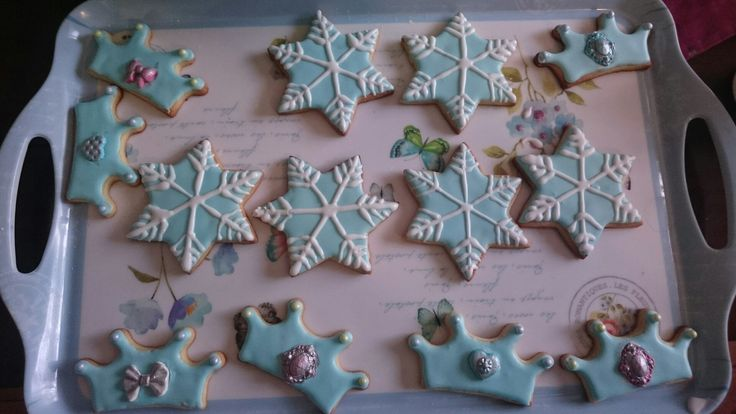 Snowflake and crown cookies with royal icing