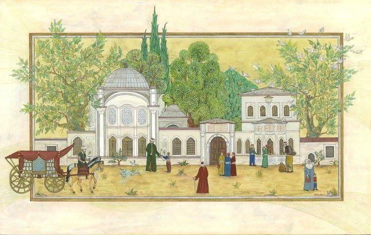 Gülçin Anmaç Şah Sultan Mektep, Çeşme, Sebil, Hazire ve Türbesi Eyüp'te bulunan bu eserin sağ tarafında iki katlı Sıbyan Mektebi ile bir sebil ve sol tarafta ise türbe vardır. Üst kısmı yarım daire şeklindeki kemerler üzerine oturtulmuş ve cephesine kuşevi yapılmıştır. Bu Şah Sultan Sebil ve Mektebi minyatürünün bitmiş hali, çok değişiklik yok gibi görünse de bir sürü ayrıntı ilave olarak çalışıldı. Bir önceki haline bakıldığında anlaşılıyor. Daha günlerce de üzerinde çalışılabilir.