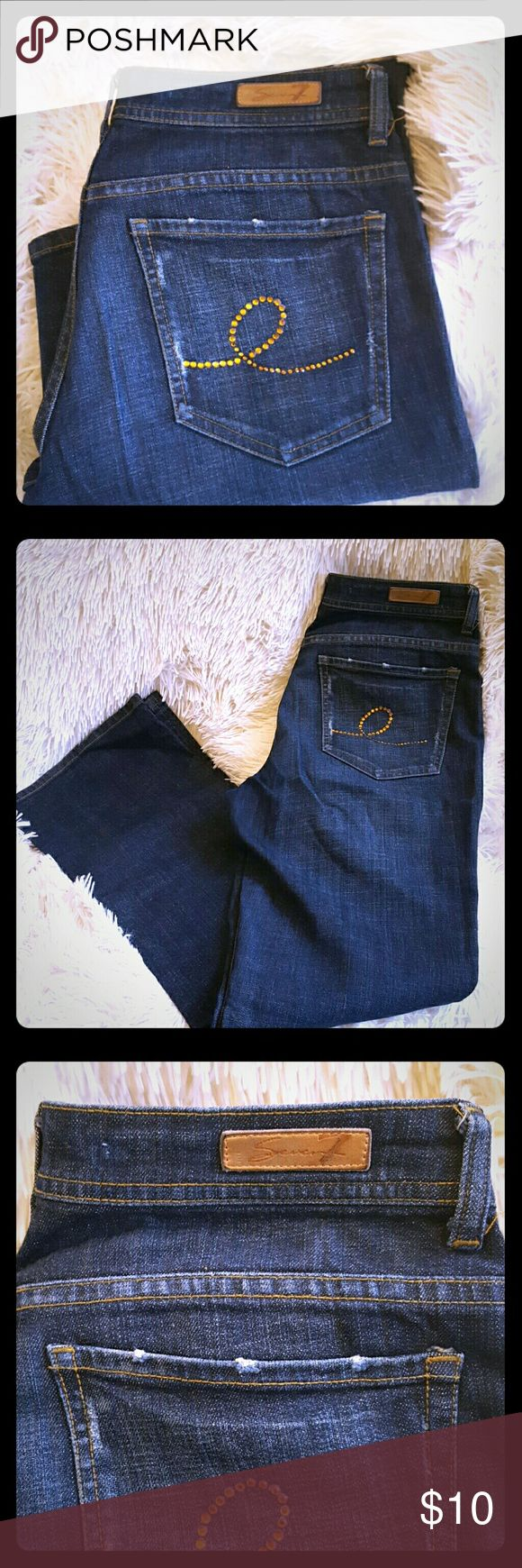 *SEVEN FOR ALL MANKIND* Jeans Flare size 32 *SEVEN FOR ALL MANKIND* Jeans Flare size 32  Only thing wrong with these killer jeans is zipper is busted,view last picture. Only about a $10 fix at dry cleaners.  Comes from a smoke free home!  *Don't forget to check out my other designer items for sale and make me some offers ** Seven7 Jeans