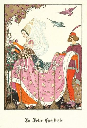 Gerda Wegener La Jolie Cueillette. Original pochoir print for 'La Guirlande', printed by Francois Bernouard, coloured by Jean Saude, No. 298 from an Edition of 800, Part 6, printed in Paris, 1919.