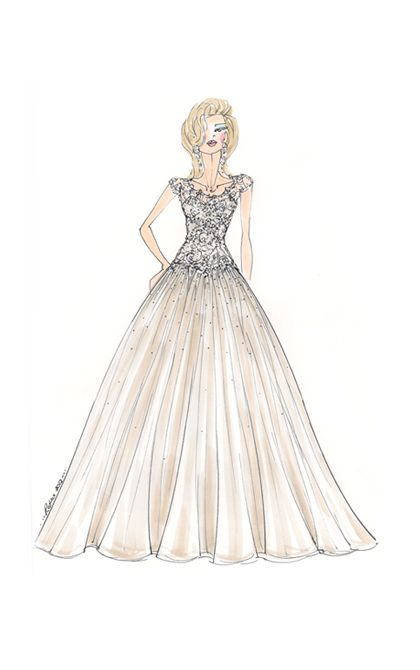 Ball gown featuring a dramatic contrast of a fitted for Fitted ball gown wedding dress