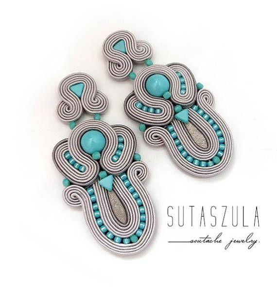 Big turquoise stone Soutache Earrings Elegant Earrings long