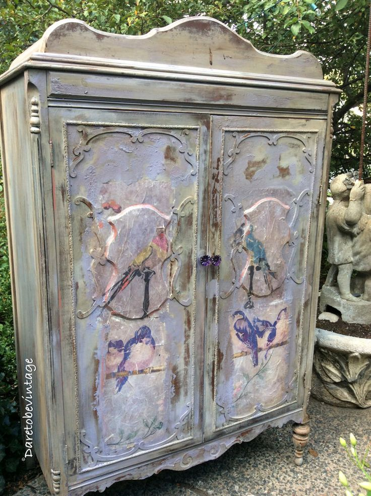 Vintage Hand Painted Armoire Using Annie Sloan Chalk Paint Old Violet Chalk  Paint With Other Customer Blended Chalk Paints , We Also Added Reproducu2026