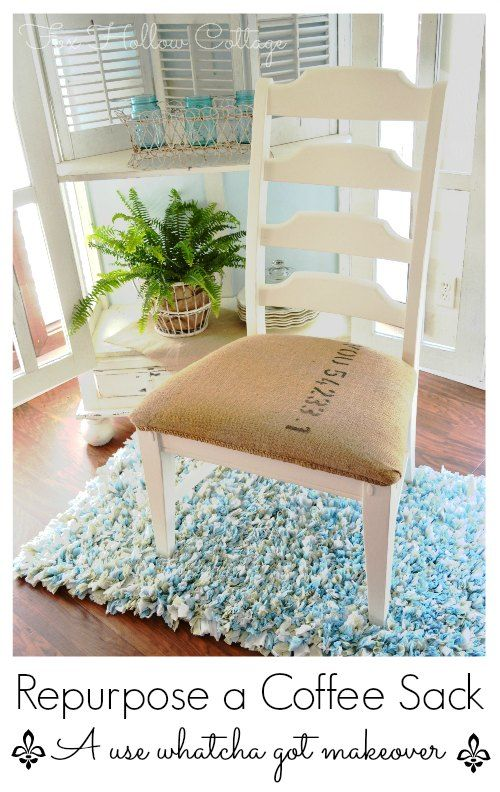 DIY: How about adding a burlap coffee sack to your chair to lighten up a space for summer! @Shannon Bellanca Fox Hollow Cottage #BHGSUMMER