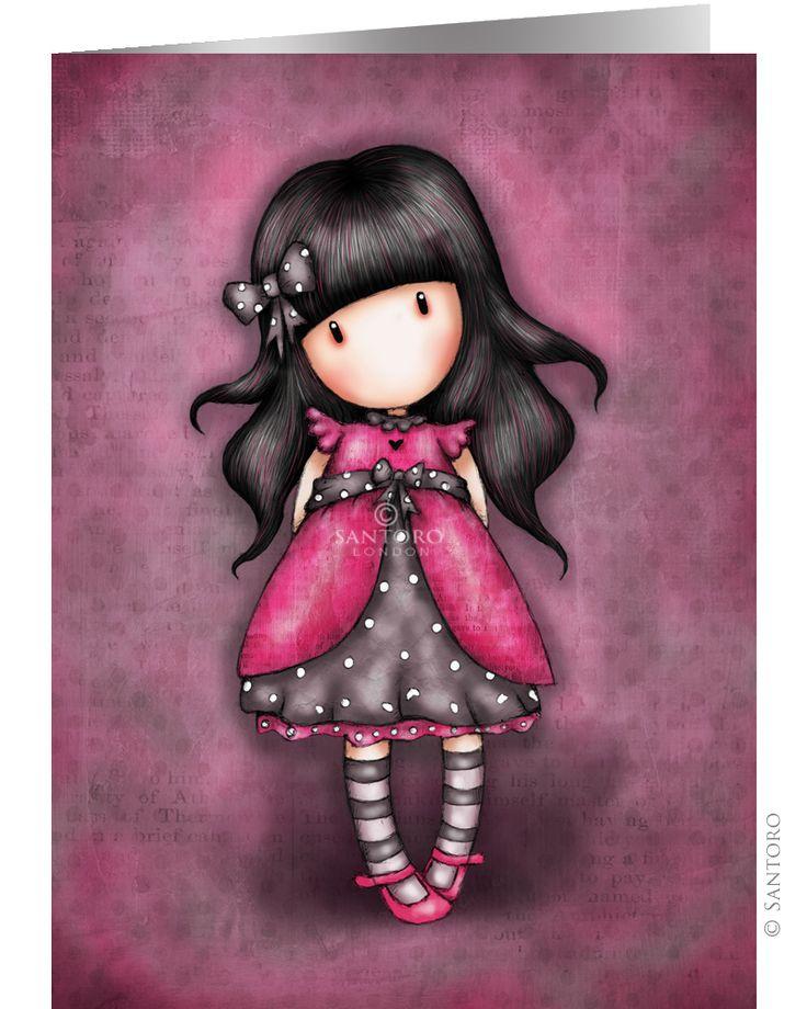 Gorjuss girl with the black stripy tights..
