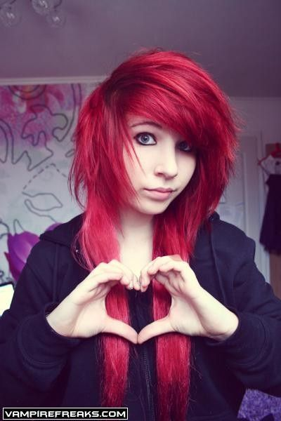 red emo hair