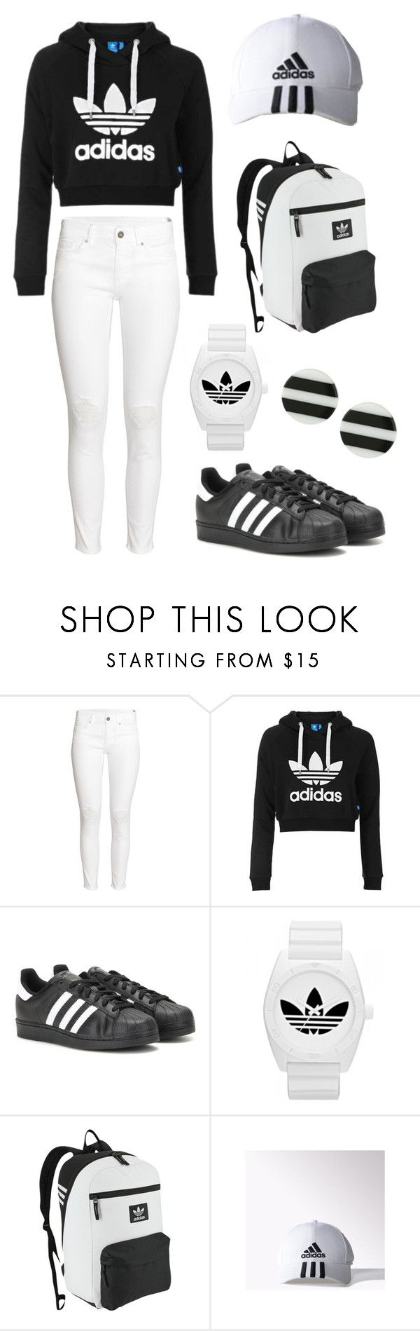 """Adidas Obsession"" by alphashe on Polyvore featuring H&M, Topshop, adidas, adidas Originals, Kate Spade, white, black, stripes and sporty"
