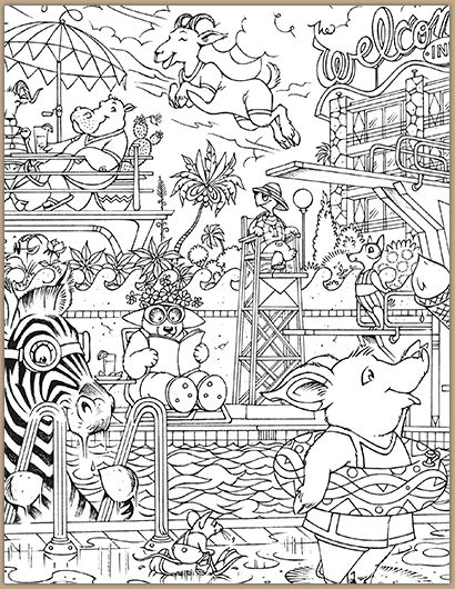 at the pool hidden pictures coloring page