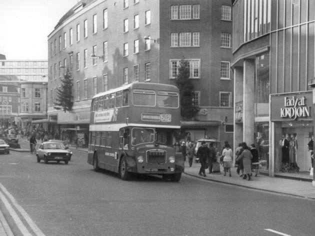 An Eastern Counties bus in Red Lion street, Norwich.     c11783     taken 2nd December 1983