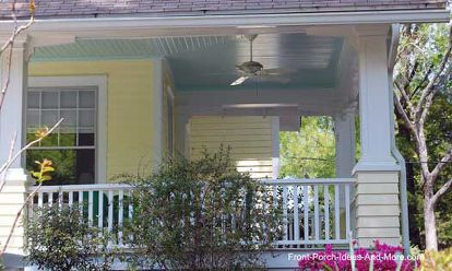 why blue porch ceilings, paint colors, painting, porches, walls ceilings, Very light blue ceiling contrasts with butter yellow siding