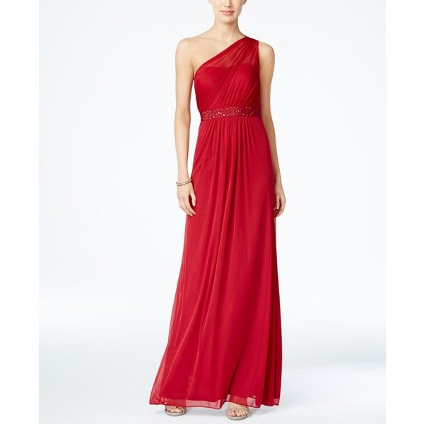 Adrianna Papell Embellished One-Shoulder Gown ($189) ❤ liked on Polyvore featuring dresses, gowns, cherry, white evening dresses, long white dress, long evening gowns, long gown and white formal dresses