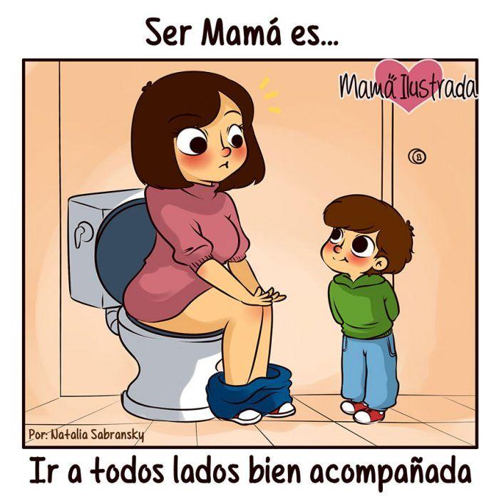 Ilustración mamá en el baño