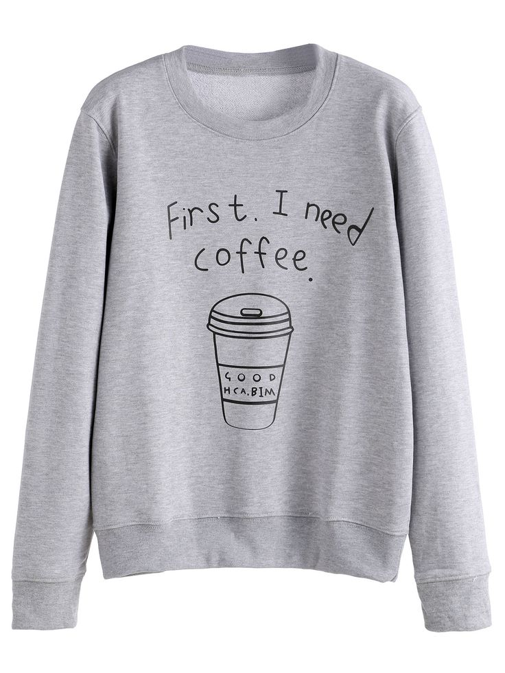 Shop Grey Coffee Cup Letters Print Sweatshirt online. SheIn offers Grey Coffee Cup Letters Print Sweatshirt & more to fit your fashionable needs.