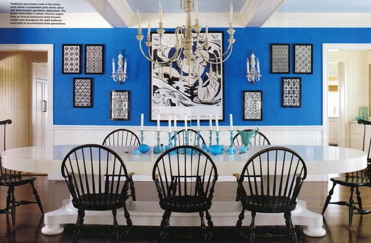 Bold Blue Walls White Wainscoting Trim Soft Blue