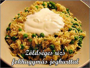 Zöldséges rizs fokhagymás joghurttal