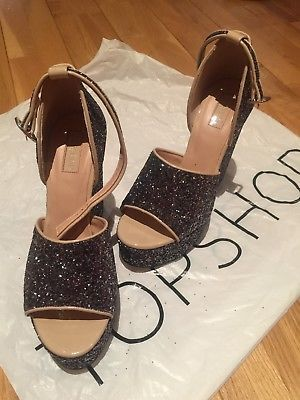 TOPSHOP Glitter High Wedge Shoes UK 6 39 Bnwob party! Christmas