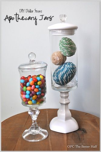 5 Dollar Store Easter Decor Ideas  Shown: Make your own apothecary jars- hot glue glass jar to glass candlestick holder