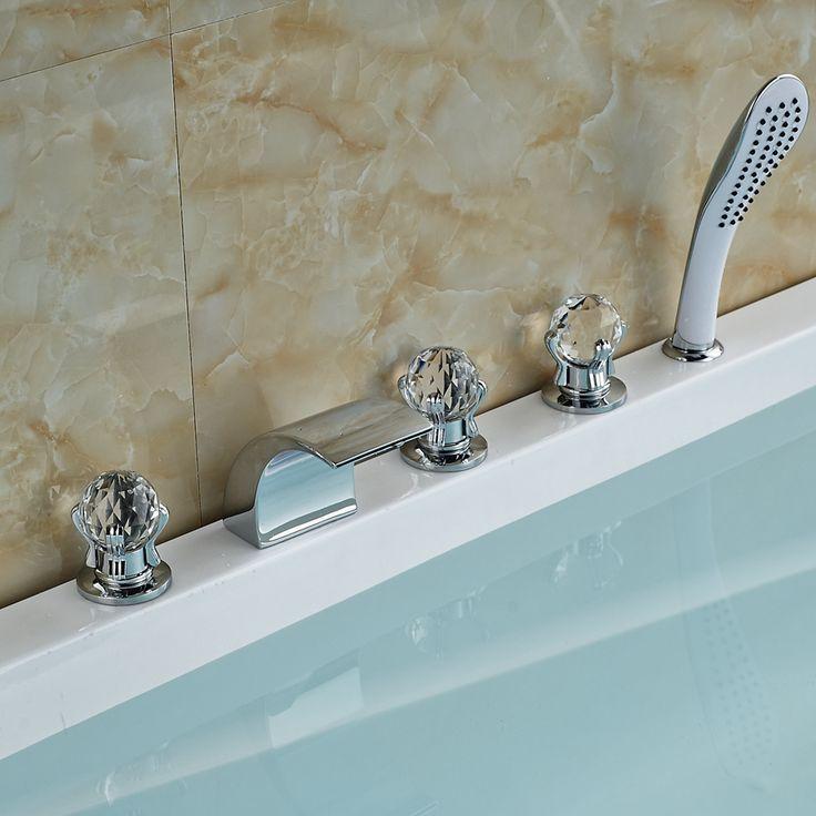 Luxury Glass Handle Chrome Brass Waterfall Bathtub Tap with Shower Spray //Price: $249.59 & FREE Shipping //     #SpaBath #ModernShowerIdeas