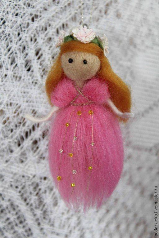 """Купить Кукла из шерсти """"Фея лесная"""" - розовый, игрушка из шерсти, подарок для девочки, фея"""