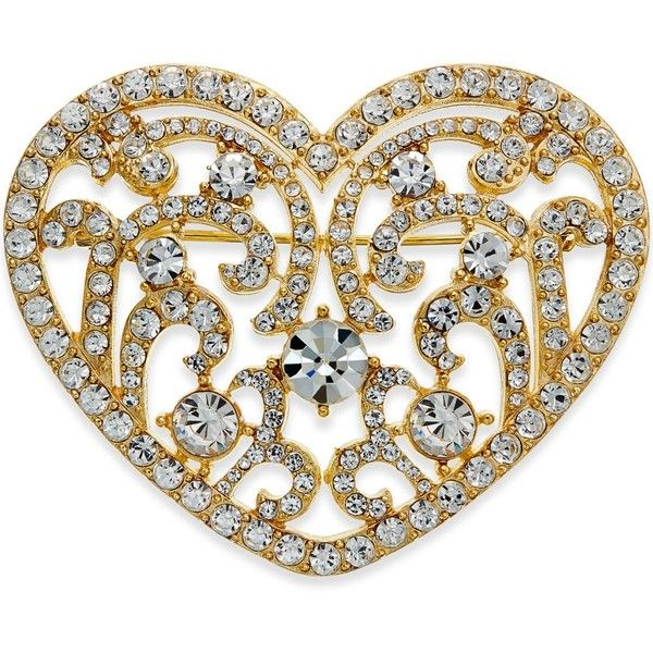 Charter Club Gold-Tone Crystal Heart Pin (62 SAR) ❤ liked on Polyvore featuring jewelry, brooches, gold, heart brooch, crystal brooch, heart jewelry, gold tone jewelry and crystal stone jewelry