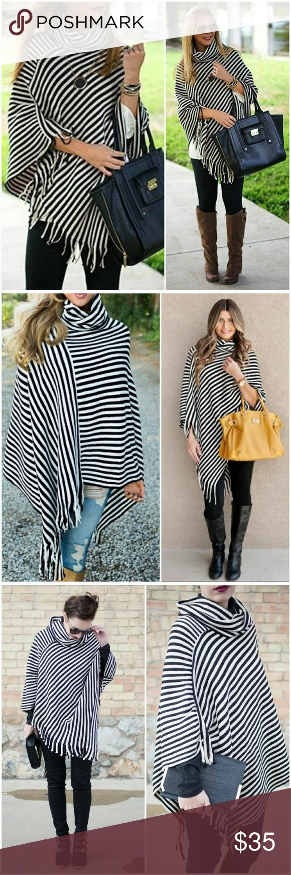 •Just In• Striped Cowl Neck Poncho Super cute black and white striped knitted poncho with cowl neck and partial fringe bottom. 100% Acrylic  CZ1SFSWBK100317 AJ's Threads Sweaters Shrugs & Ponchos