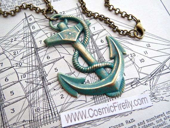 Big Anchor Necklace Verdigris Turquoise Green Anchor Rustic Finish Steampunk Necklace Large Anchor Jewelry