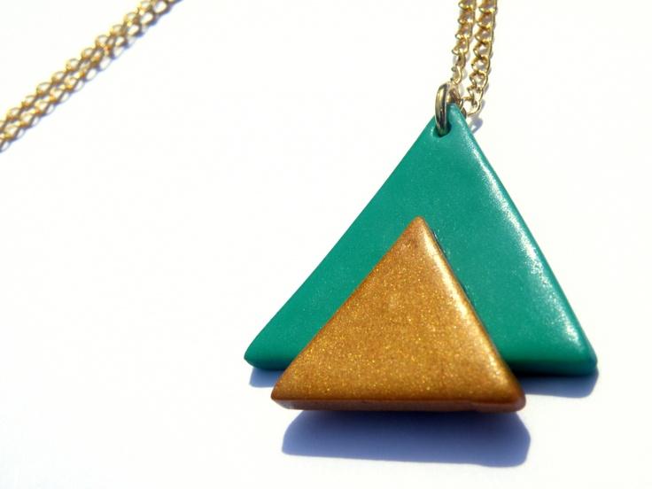 Collier triangle Aztèque Vert lagon et Or