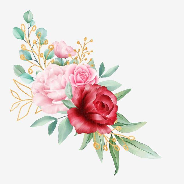 Watercolor Flowers Arrangement With Golden Leaves For Wedding Card Watercolor Clipart Flowers Invitation Png Transparent Clipart Image And Psd File For Free Flor Aquarela Ilustracao De Flor Aquarela Floral