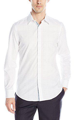 Perry Ellis Men's Slim Fit Check Dobby Print Shirt, Bright White, Large ❤ Perry Ellis Men's Sportswear