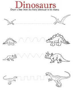 Dinosaurs Drawing/Cutting Lines