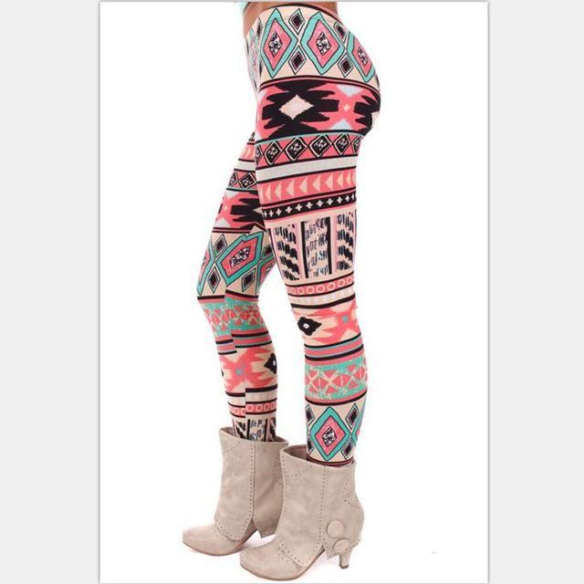 Christmas Tree Reindeer Snowflake Aztec Leggings Women Stretchy Knit Tribal Printed Various Sizes