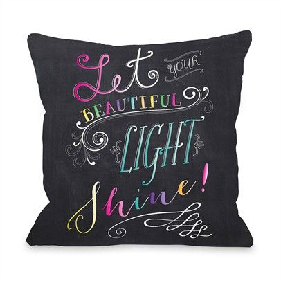 Let Your Beautiful Light Shine Ozsale Gray Multi 16x16 Pillow-73283PL16-Gray-Multi