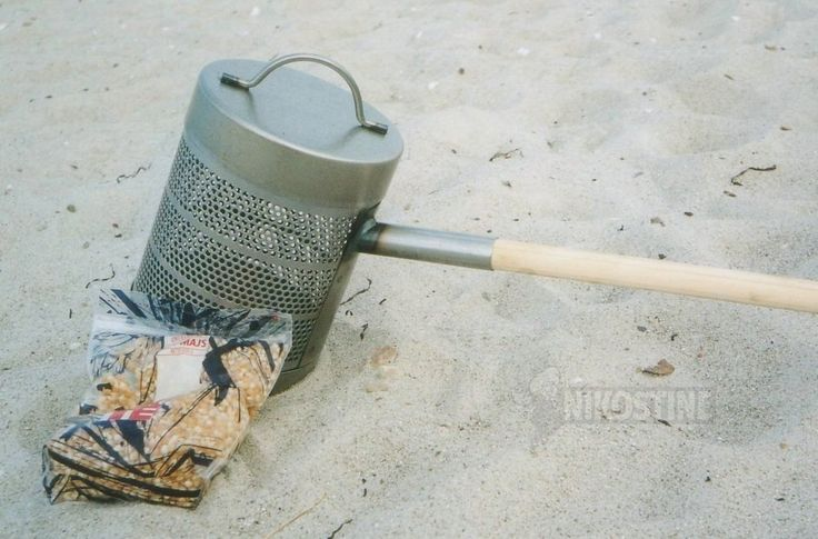 Popcorngryde af stål m. træskaft
