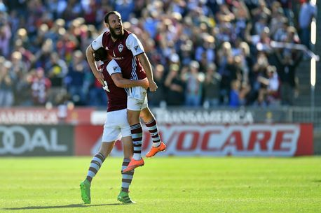 Colorado Rapids midfielder Shkelzen Gashi (11) celebrates his goal with defender Marc Burch (4) in the first half of the match against the Los Angeles Galaxy