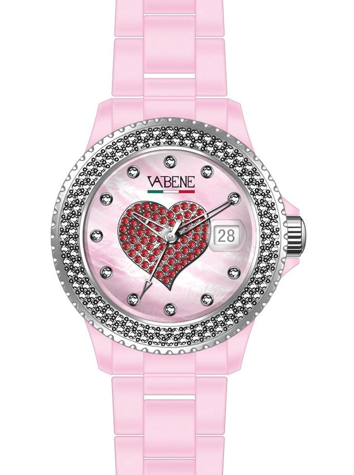 Watch Vabene Red Heart S Italy Women Classico Collection Authentic Pink bracelet   Vabene Chrono Collection Unisex Watch SS501  Case size: 40mm diameter Swiss made quartz battery movement Pink round dial with indices Pinnk plastic polycarbonate case  Pink acrylic bracelet with locking clasp Fixed stainless steel bezel with two lines of swaronsky crystals Date calendar function Mineral glass crystal Water resistant to 50atm