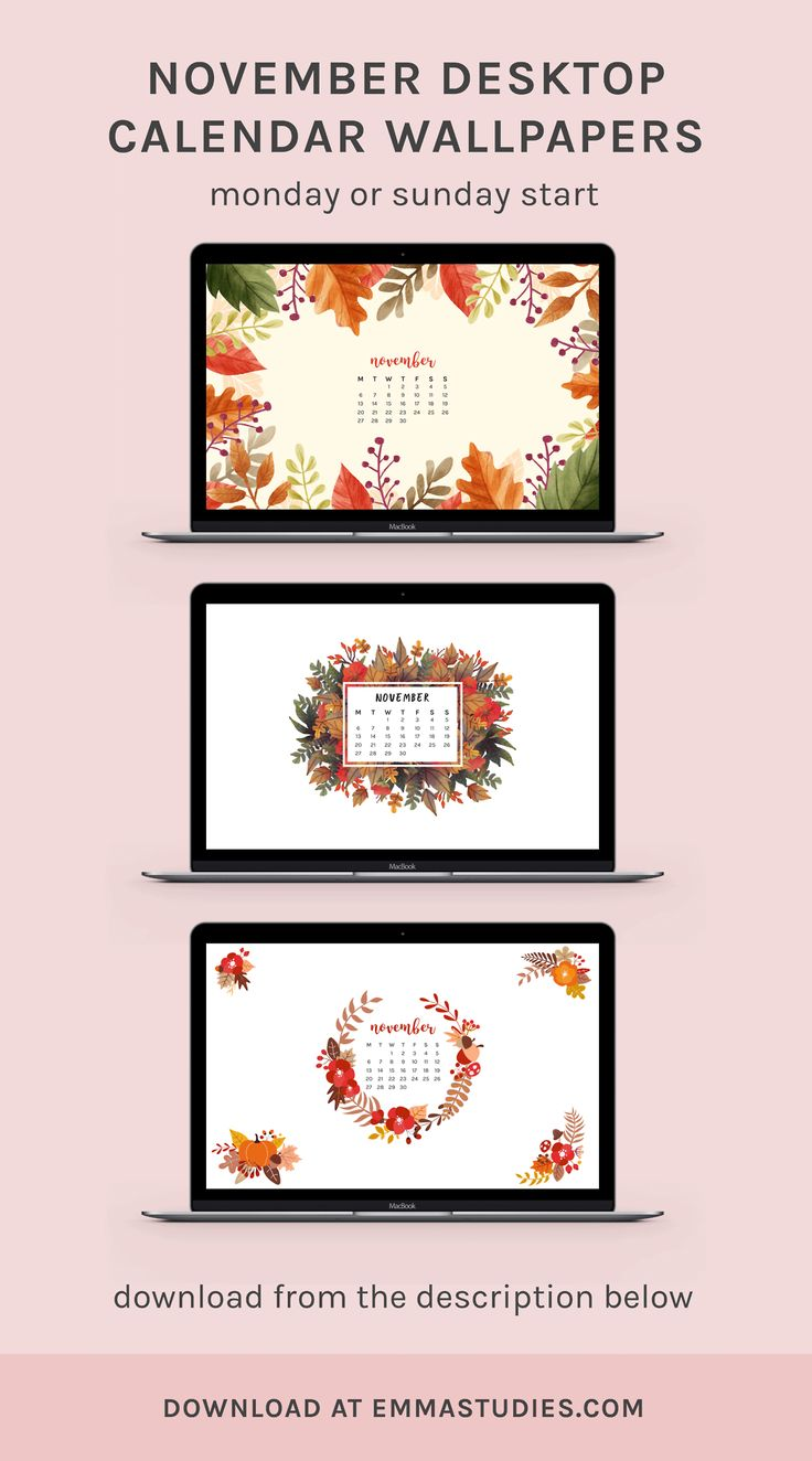 Autumn fall November 2017 calendar wallpaper background emmastudies