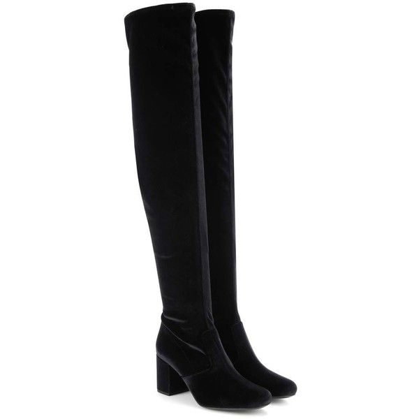 Saint Laurent BB 70 Over-the-Knee Velvet Boots ($1,047) ❤ liked on Polyvore featuring shoes, boots, botas, scarpe, black, over-knee boots, black boots, black above the knee boots, yves saint laurent and velvet boots
