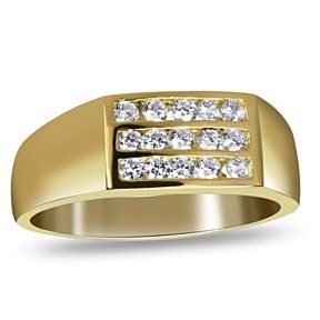 Mens 10K Yellow Gold Solid Round CZ Wedding Band Ring Size 8-12 # Free Stud Earrings by JewelryHub on Opensky