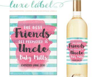 Pregnancy Announcement Custom Wine Labels Proud por LuxeLabelCo
