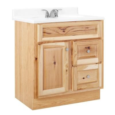 hampton 30 in w x 21 in d x 33 5 in h vanity cabinet only in natural hickory home the o. Black Bedroom Furniture Sets. Home Design Ideas